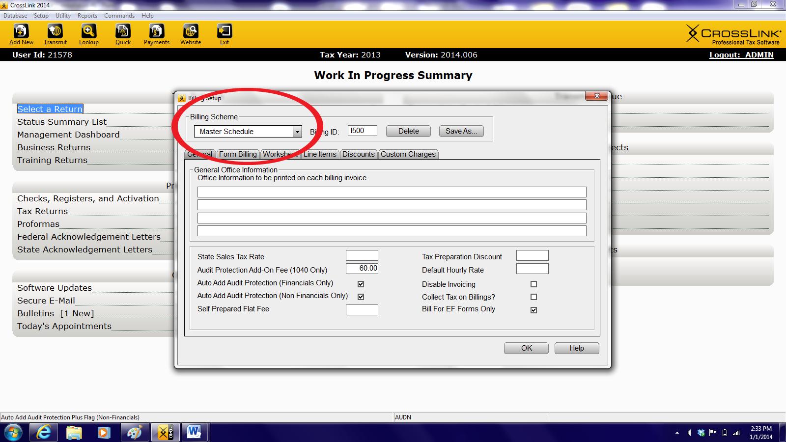 Crosslink Tax Software Setup