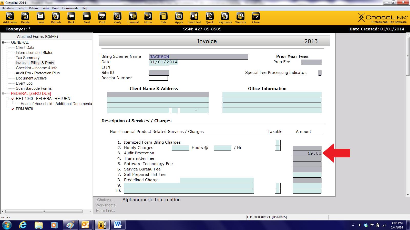 Crosslink Tax Software Amount